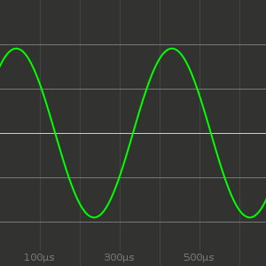 Tone Generator, showing an oscilloscope with a sine wave